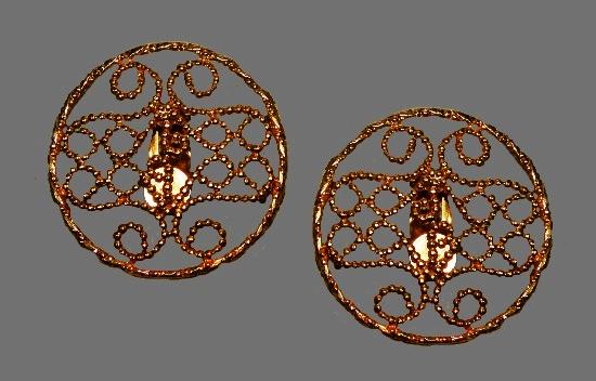 Doorknocker style clip on earrings. Gold filled