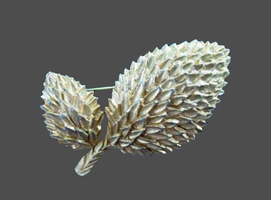 Double leaf bud pin brooch. Gold tone textured metal