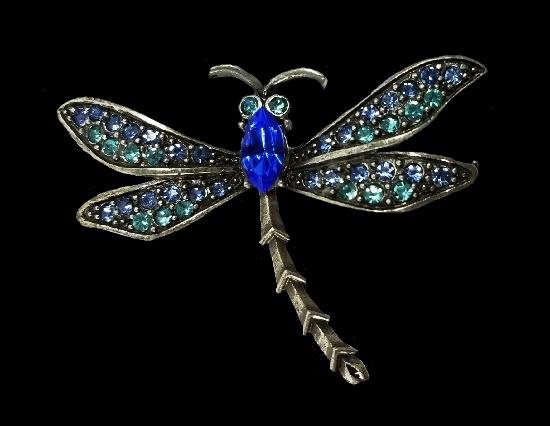 Dragonfly brooch. Blackened silver, bly glass cabochon, rhinestones