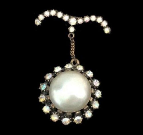 Drop pendant brooch. Copper, Gold Plated, rhinestones