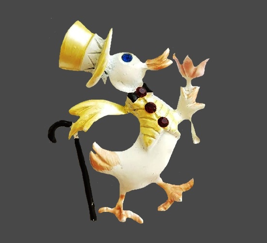 Duck in a top hat with a cane and flower brooch. Jewelry alloy, enamel, Swarovski crystals. 4.5 cm. 1960s