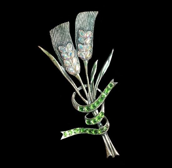 Ear brooch. 925 Sterling silver, aurora borealis. 1940s