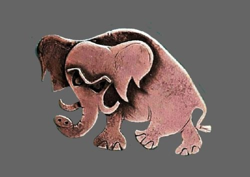 Elephant vintage pewter brooch