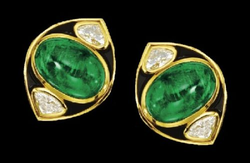 Emerald and diamond 18 K gold, black enamel earclips