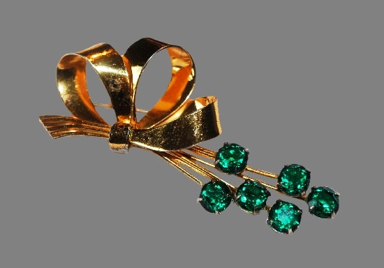 Emerald green glass flowers gold bow brooch. Sterling silver, gold plated