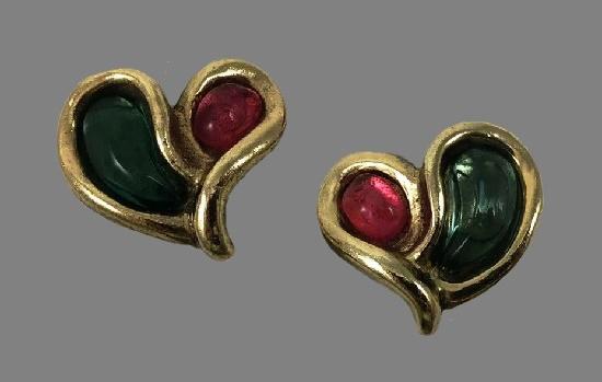 Enameled heart shaped gold tone earrings