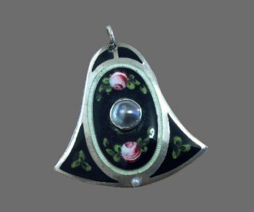 Enameled sterling silver pendant. 1914