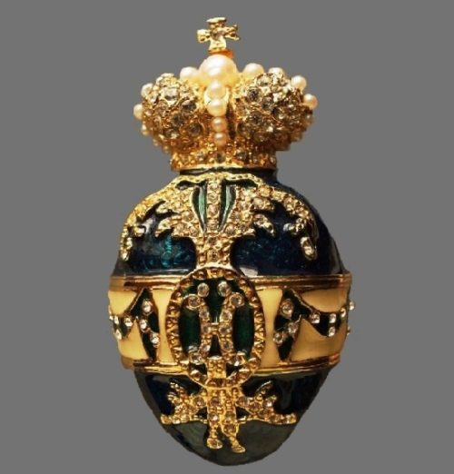 Faberge Egg brooch. Gold plated, lucite, faux pearls, rhinestones, enamel. Jackie Orr vintage costume jewelry