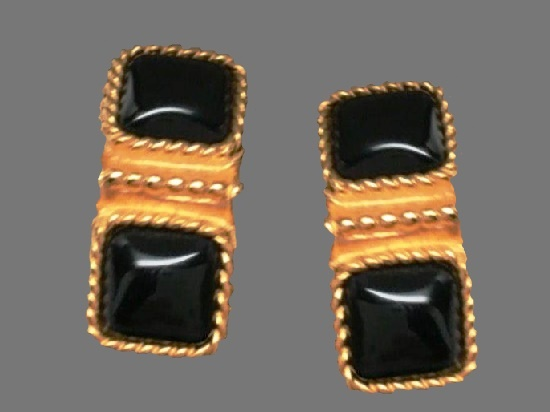 Faux Black Onyx Rope Design Clip On Earrings