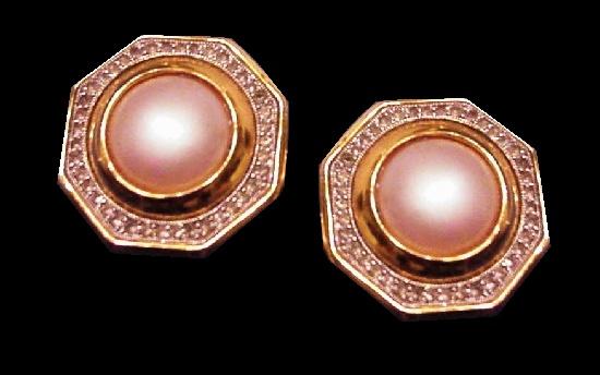 Faux pearl rhinestone octagon shape gold tone clip on earrings