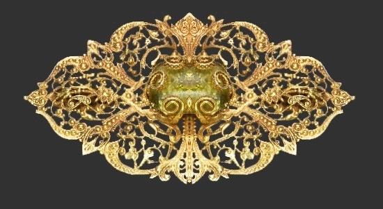 Filigree design green glass gold tone brooch. 1980s
