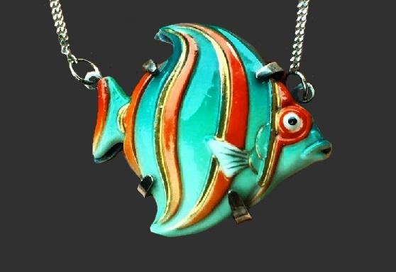 Fish pendant. 925 silver, porcelain. 1950s