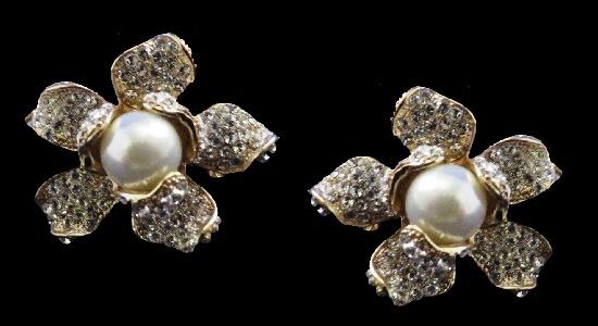 Five petal flower clip on earrings. Gold tone, faux pearls