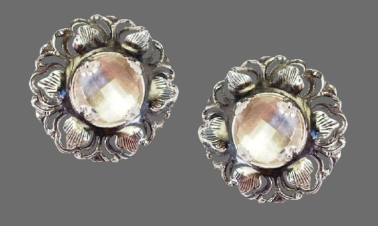 Floral design earrings. Sterling silver, faceted cabochons. 1989