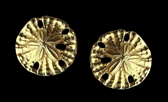 Floral design round shaped clip on earrings