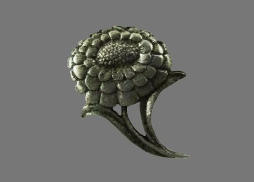 Flower brooch pin. Pewter, 1970s