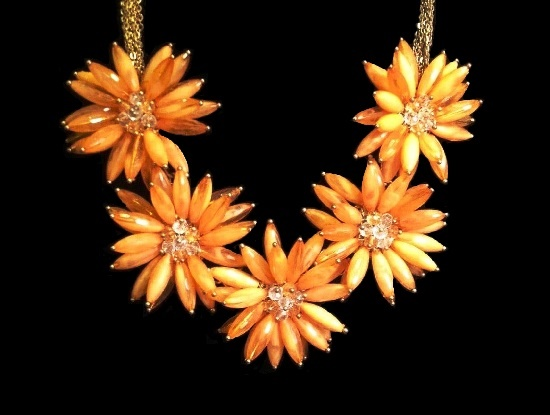 Flower necklace. Gold tone metal, art glass, rhinestones