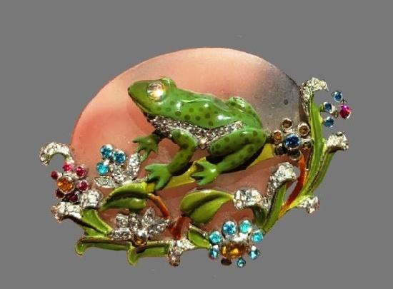 Frog brooch. Jewelry alloy, green enamel, art glass, rhinestones