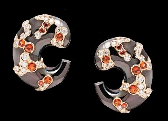Fuji Yama earclips. Blackened gold hoops, 24 K gold, orange sapphires and diamonds