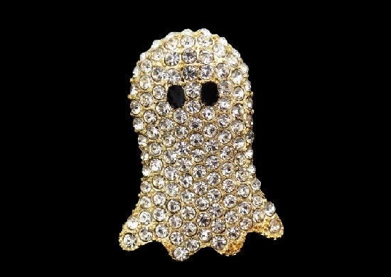 Ghost Halloween brooch pin. Gold tone metal, rhinestones, glass cabochons