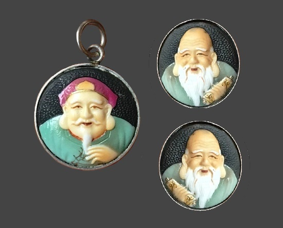 Gods of luck and longevity - earrings and pendant. 925 silver, porcelain, enamel. 1950s