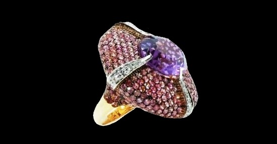 Gold, diamond, Sapphire, & Amethyst Cocktail Fashion Ring