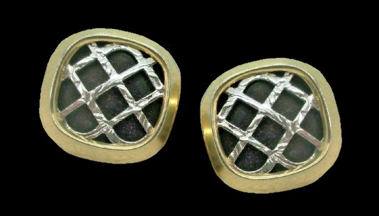 Gold framed silver and black square cufflinks