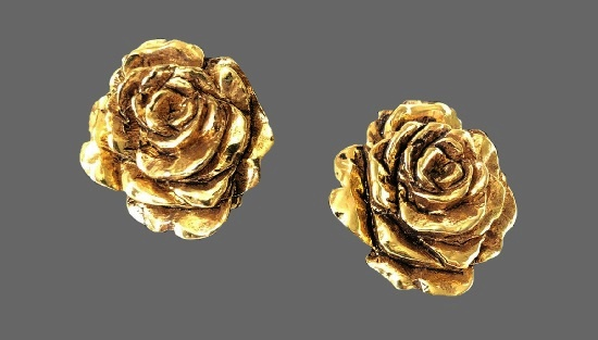 Gold rose clip-on earrings