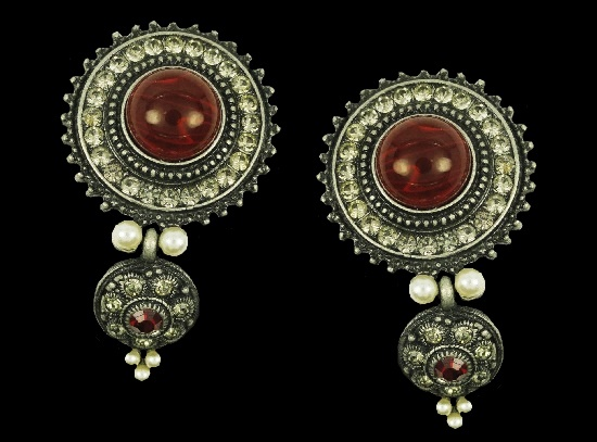 Gorgeous dangling earrings. Blackened silver tone metal, rhinestones, faux pearls