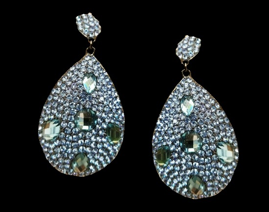 Gray blue crystal teadrop earrings. Gunmetal