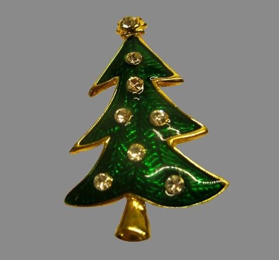 Green enamel rhinestones gold tone metal Christmas tree brooch