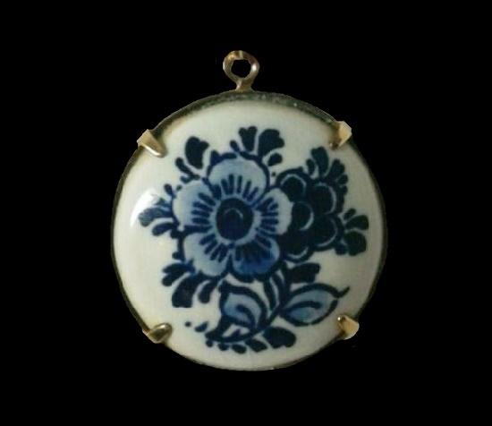 Handpainted porcelain pendant. 12 K gold filled