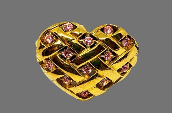 Heart of gold St. Valentine's day brooch of gold tone, crystals, rhinestones