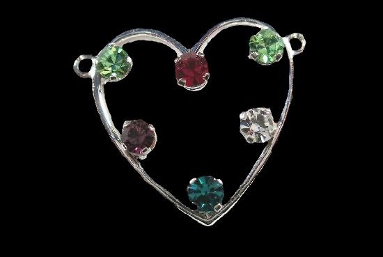 Heart pendant. Sterling silver, multicolor rhinestones