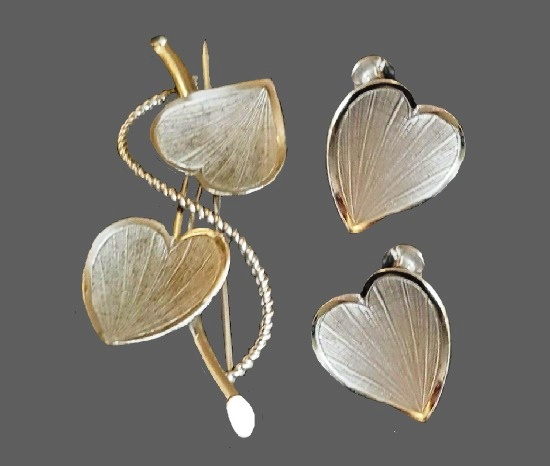 Heart shaped earrings and brooch. High polished sterling silver