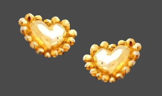 Heart shaped gold tone clip on earrings