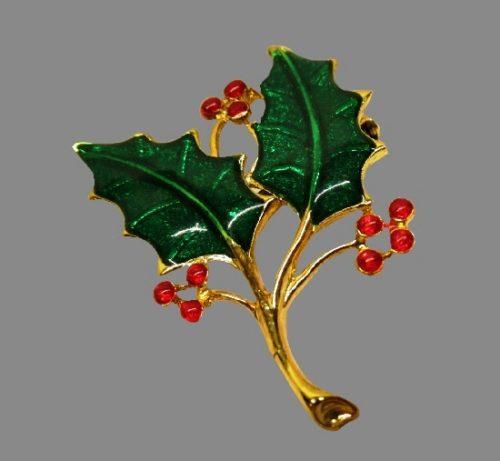 Holy plant Christmas brooch pin, gold tone metal, enamel