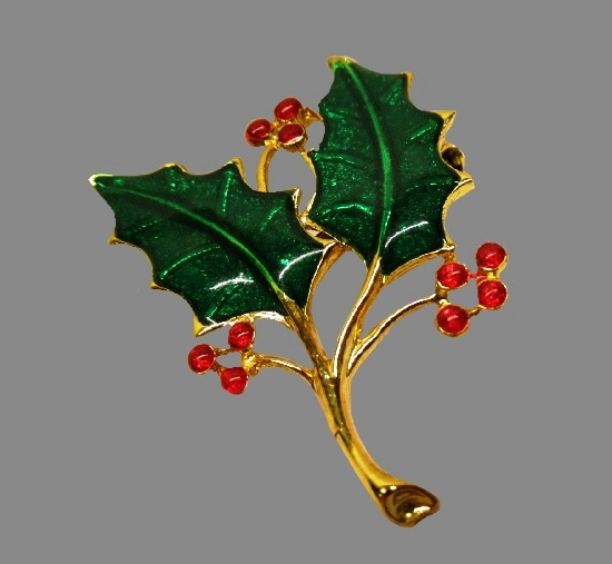 Holy plant Christmas brooch pin, gold tone metal, enamel