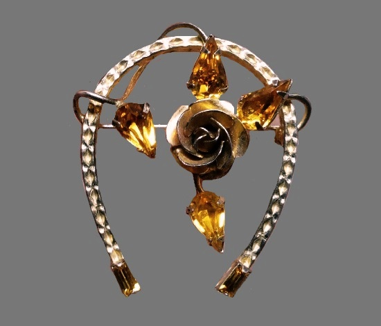 Horse shoe with rose inside brooch. 925 silver, 14 K gold plated. 1960s