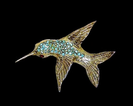 Hummingbird brooch. Sterling silver, gold tone metal, rhinestone