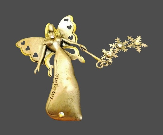 Imagine Fairy with snowflakes brooch. Gold tone metal, rhinestone, enamel