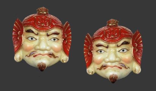 Japanese man head earrings. Silver tone metal, handpainted porcelain. 1940s