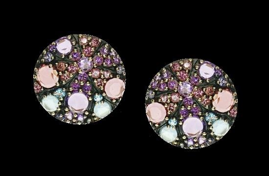 Kaleidoscope earrings. 18K Rose Gold, Amethyst, Topaz
