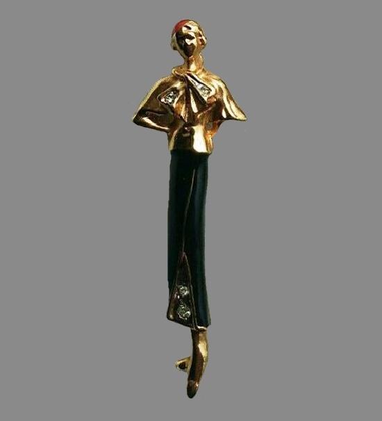 Lady brooch. Gold tone alloy, enamel, rhinestones. 6 cm. 1980s