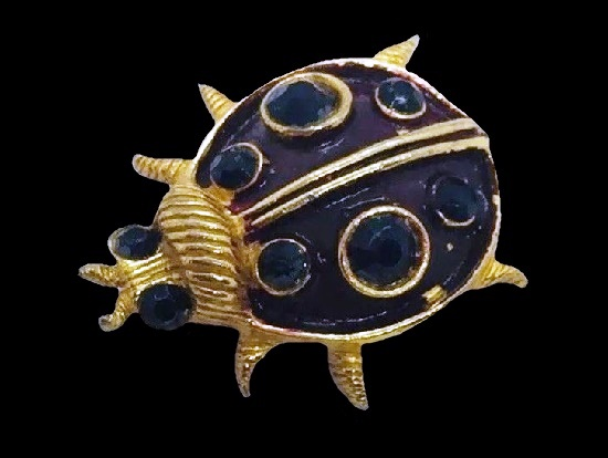 Ladybug brooch pin. Gold plated, red enamel, rhinestones