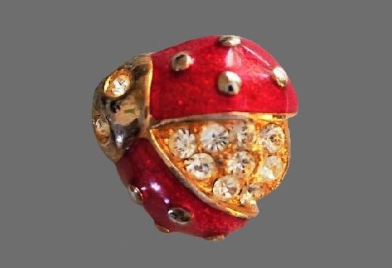 Ladybug brooch. Red enamel, gold tone, rhinestones. 3 cm. 1990s