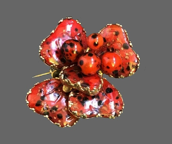 Ladybugs on a flower brooch. Red and black art glass, metal alloy. 1950s