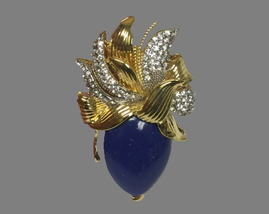 Lapis glass cabochon clear rhinestones gold tone brooch