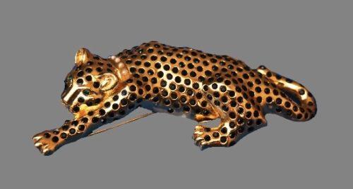 Leopard Pin Brooch. Gold tone metal, black rhinestones, faux pearls