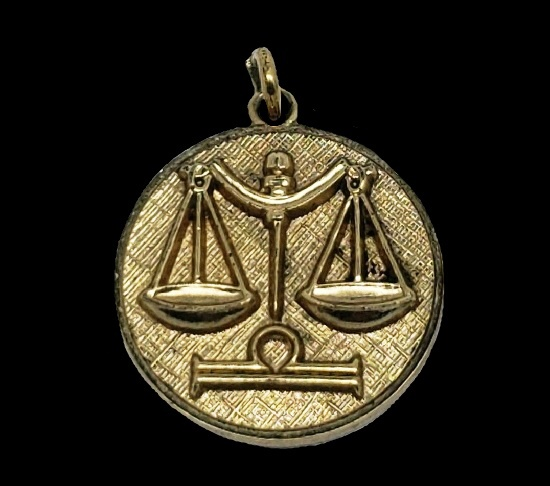 Libra zodiac sign pendant. Textured metal, gold plated